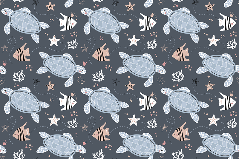 TenStickers. Turtles and fish under sea animal vinyl carpet. This fantastic animal vinyl rug with a beautiful pattern of turtles, fish, and sea motives will look great in your kids bedroom decor.