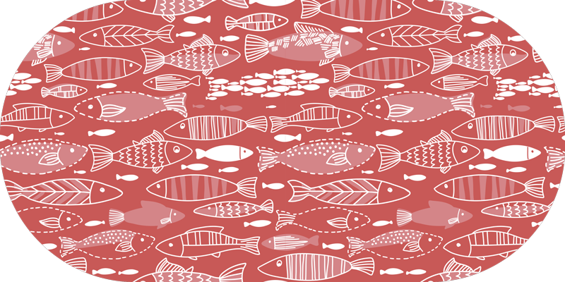 TenStickers. Many fish under sea animal vinyl carpet. Vinyl carpet to place in a kitchen space or any other are of choice. A lovely animal vinyl carpet made from high quality vinyl and it is easy to use.