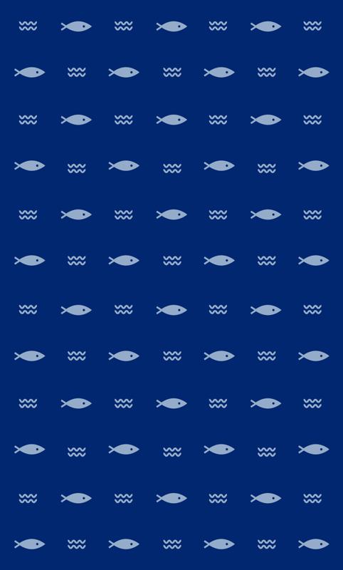TenStickers. 最小的鱼纹最小的乙烯基地毯. 矩形乙烯基地毯与鱼图案设计。这款令人惊叹的蓝色乙烯基地毯是您所需要的空间,而且易于维护。