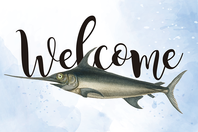 TenStickers. Swordfish welcome entrance hall vinyl carpet. Buy our amazing animal vinyl carpet for home and office use with the design of fish and a welcome text. It is easy to maintain and washable.