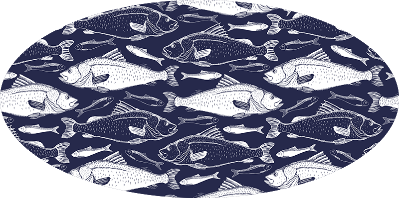 TenStickers. Dywanik winylowy ryby morskie. Granatowy dywan winylowy z motywem morskich ryb do dekoracji Twojego domu w wielkim stylu. Ta mata winylowa jest wprost idealna do łazienki!