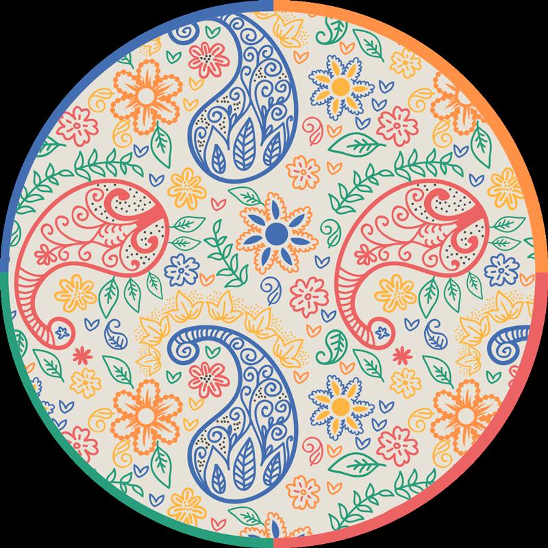 TenStickers. Tappeto in vinile con fiori e piante Paisley colorato. Un originale tappeto circolare in vinile con design ornamentale multicolore. è facile da mantenere e anti scivoloso. Disponibile in diverse dimensioni.