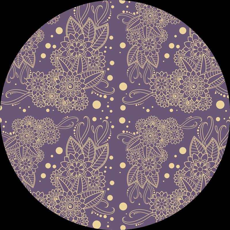 TenVinilo. Alfombra vinilo lila motivos florales paisley. Compre esta alfombra vinílica flores para salón o comedor con un diseño paisley sobre fondo morado. Es fácil de mantener ¡Compra online!
