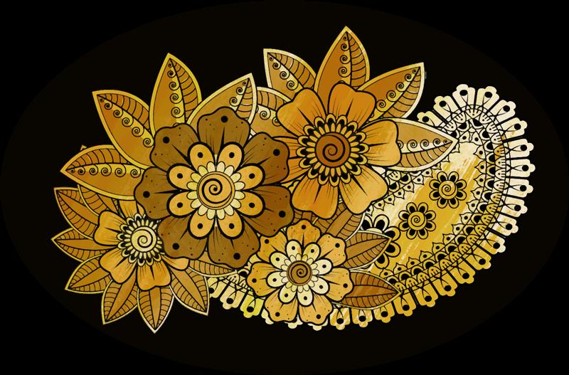 TenStickers. Tappeto in vinile con fiori e piante Stile indiano paisley. Qui ti abbiamo coperto nel nostro fantastico tappeto circolare in vinile con design paisley in stile indiano. è originale e facile da pulire.