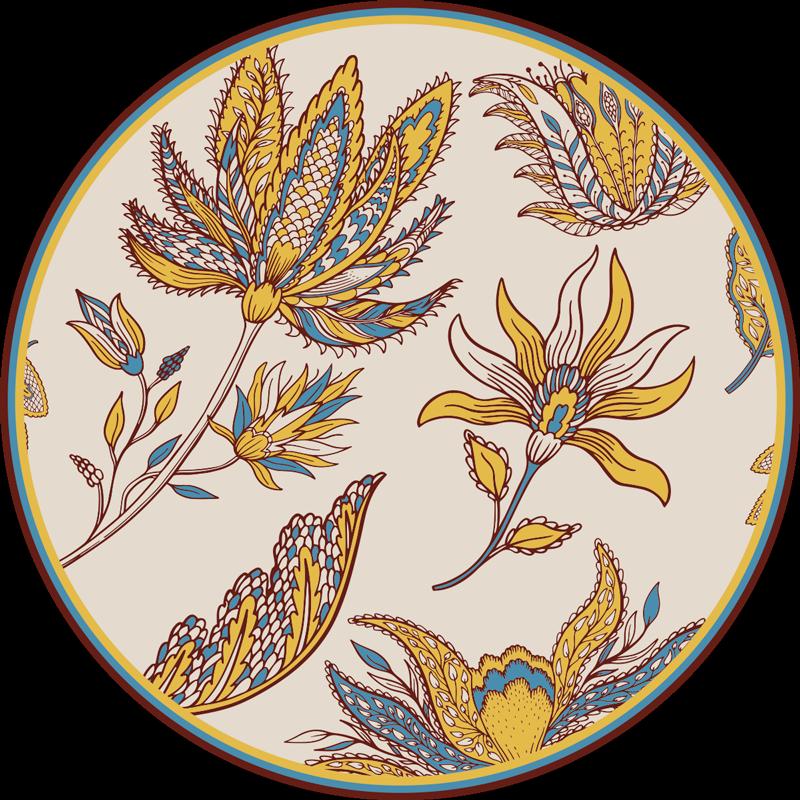 TenStickers. Covor vinil din set de flori paisley. Un covor rotund uimitor din vinil, cu design paisley, pe care să-l așezi pe podeaua dormitorului tău pentru a-i conferi un aspect exotic. Este ușor de curățat.