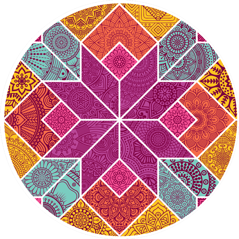 TenStickers. Dywan winylowy mozaika paisley. Zamów okrągły dywan winylowy z mozaikowym wzorem paisley. Jest wysokiej jakości, łatwy w utrzymaniu w czystości i antypoślizgowy.