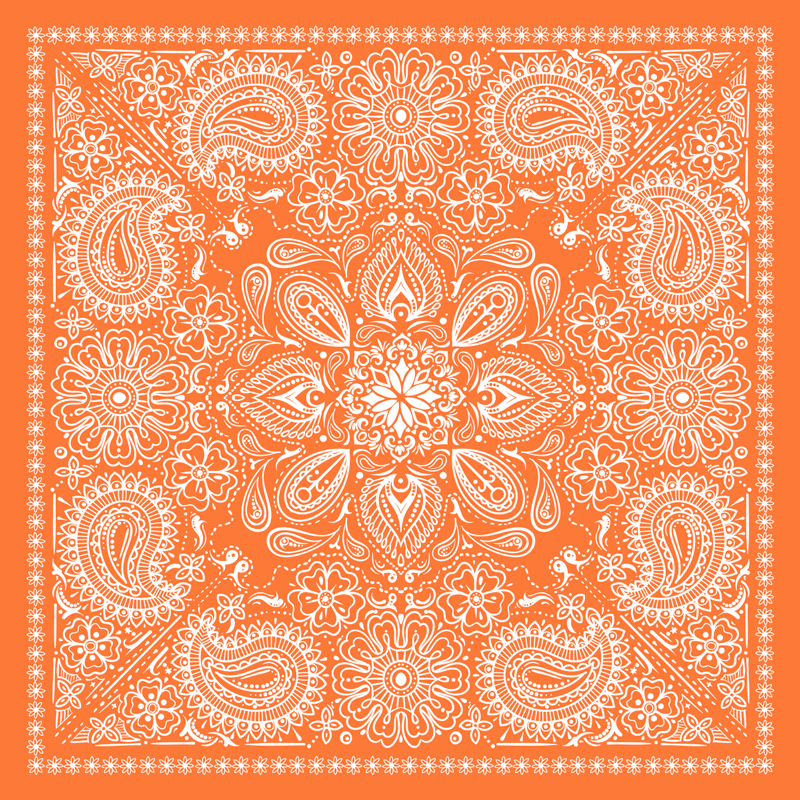TenStickers. Paisley Tile living room rug. An exclusive and original rectangular vinyl rug in an orange colour with paisley design. It is made of good quality and easy to maintain.