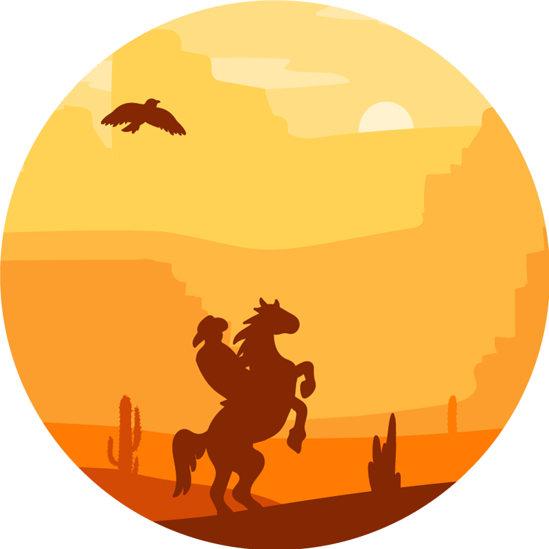 TenStickers. Cowboy landscape kids room vinyl rug. A round-tip vinyl rug with a cowboy riding on a beautiful sun set landscape with desert skyline. The product is made of top quality.