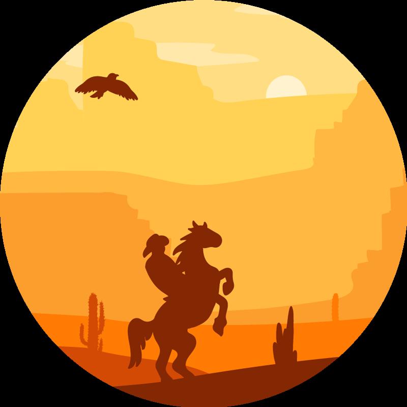 TenStickers. Covor de vinil peisaj camera cowboy. Un covor de vinil cu vârf rotund cu un cowboy care călărește pe un peisaj minunat de soare cu orizont deșert. Produsul este realizat de cea mai buna calitate.