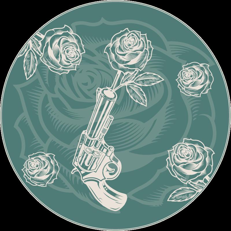 TenStickers. Pistool en rozen vinyl tapijt. Cowboy geweer met rozen en vinyl tapijt om uw huis in stijl in te richten. Het is gemaakt van hoogwaardig materiaal en zeer gemakkelijk schoon te maken.