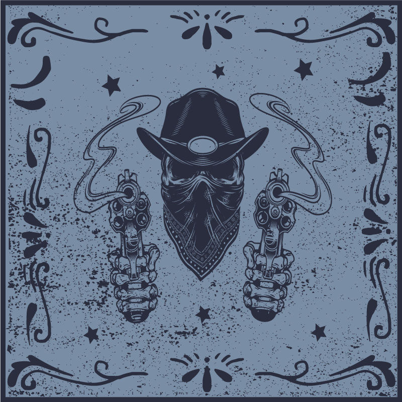 TenStickers. Cowboy skull and flock vintage vinyl carpet. Navy blue vinyl carpet with the design of cowboy features. It is made with high quality material and it is easy to maintain.