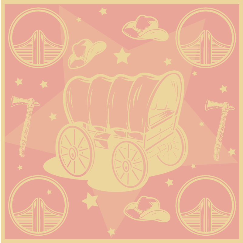 TenStickers. Cowboy Wagon kids room vinyl rug. Ideal vinyl rug design for kids to decorate their bedroom floor space with the design of cowboy's wagon and hat. It is made of good quality.