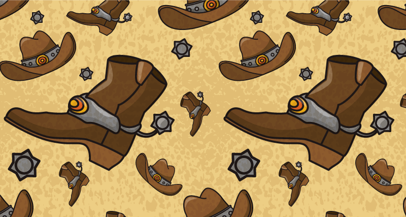 TenStickers. Hat and boots pattern kids room vinyl rug. An amazing vinyl carpet with cowboy element as  design.  It is featured with cowboy's boot and hat in lovely colour. It is easy to maintain.