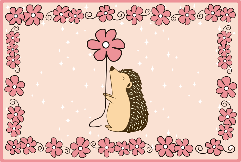 TenStickers. Porcupine and daisy animal vinyl carpet. Rectangular vinyl carpet  for kid bedroom featured with design of porcupines and floral prints. It is easy to maintain and of top quality.
