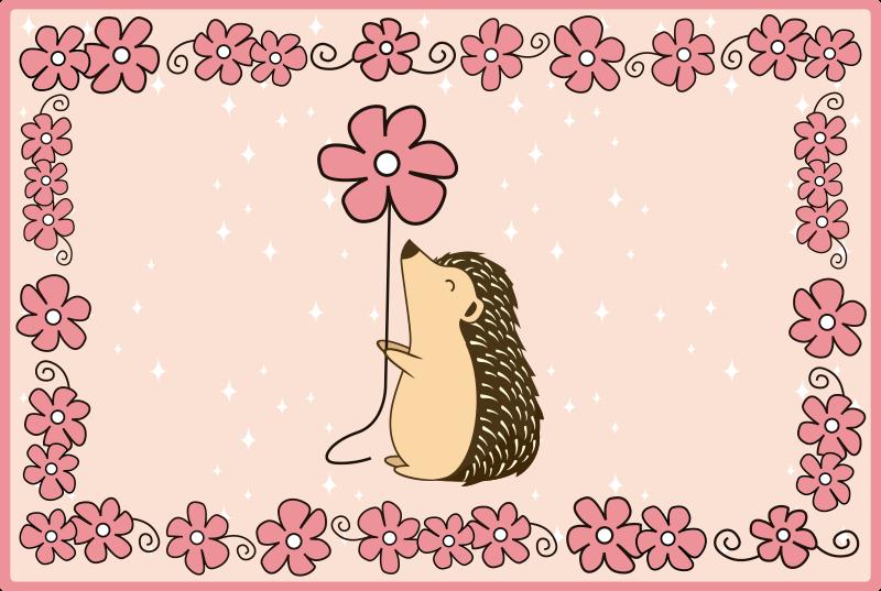 TenStickers. Tapete de vinil animal porco-espinho e margarida. tapete em vinil retangular de vinil para quarto de criança, com desenho de porcos-espinhos e estampas florais. é fácil de manter e de alta qualidade.