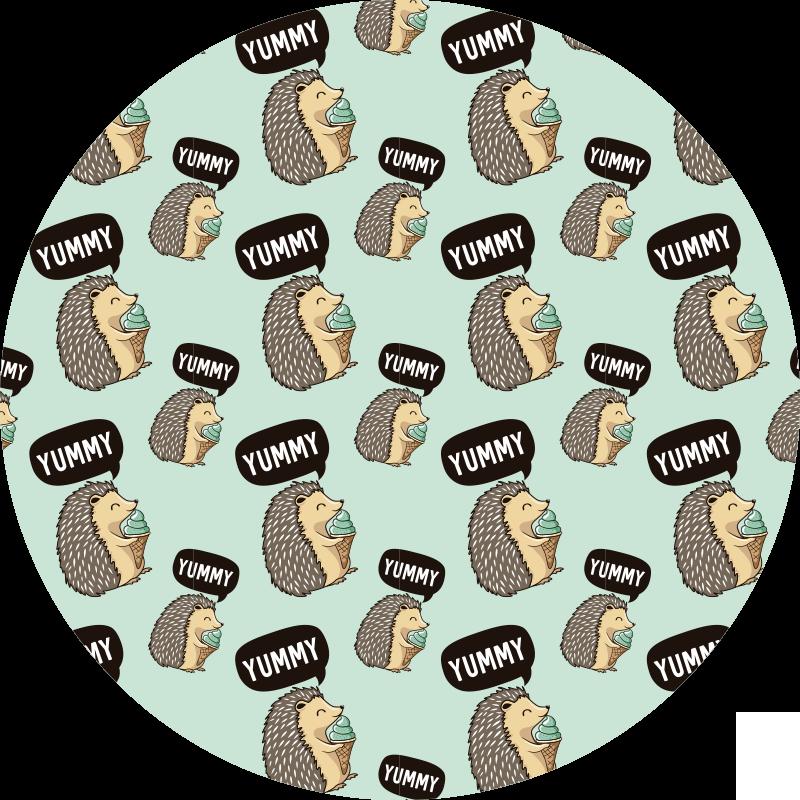 TenStickers. 美味的豪猪动物乙烯基地毯. 装饰圆形乙烯基地毯,上面印有豪猪的各种图案,享受美味的冰淇淋。它易于清洁且品质优良。