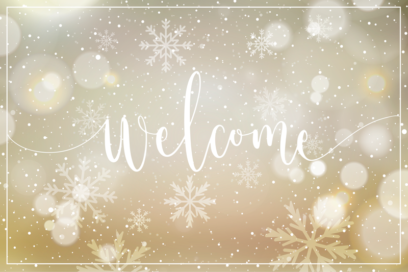 TenStickers. Christmas snowflakes shiny effect entrance hall vinyl carpet. Featured Christmas pattern vinyl rug design.  A suitable entrance hall vinyl carpet inscribed with ''Welcome'' and it has shiny snowflakes effect.