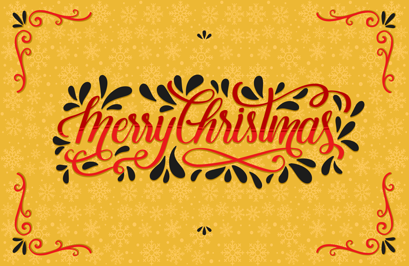 TenStickers. Christmas snowflakes living room rug. Rectangular vinyl carpet made on yellow background with ornamental features.  It is inscribed with ''Merry Christmas'' text.