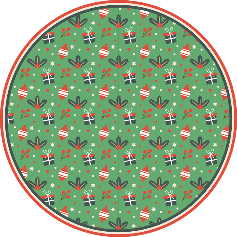 TenStickers. Christmas candy pattern bedroom vinyl rug. Green round tip vinyl rug design with Christmas featured design. On the rug are gift boxes and other element features. Easy to maintain and anti-slip.