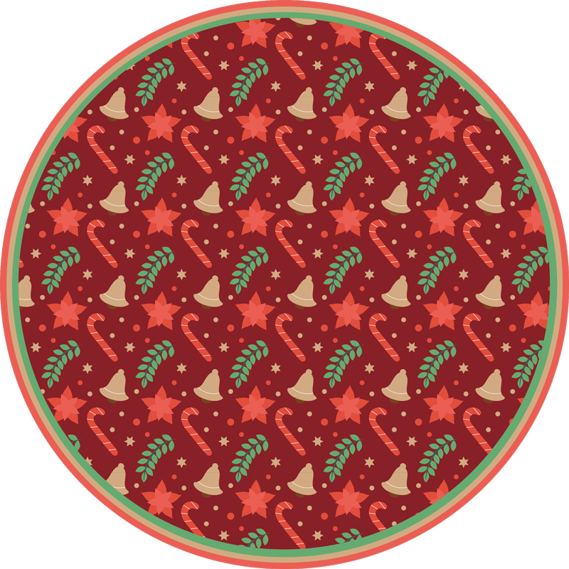 TenStickers. Christmas candy pattern red living room rug. Candy pattern Christmas vinyl rug.  An amazing design to give a touch of Christmas to any space It is suitable for home especially with kids.
