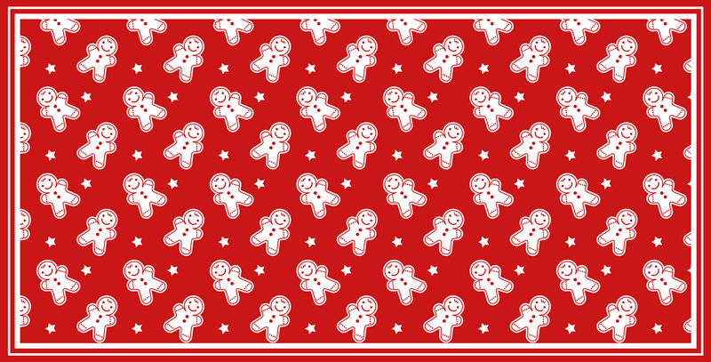 TenStickers. Christmas Cookies living room rug. Christmas cookies pattern vinyl rug.  The design is featured on red background with white snowman prints . Easy to maintain and made of high quality.