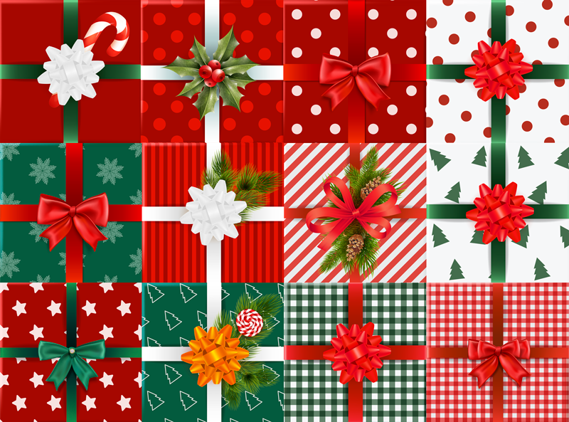 TenStickers. Gift boxes pack bedroom vinyl rug. Christmas gift boxes vinyl bedroom rug..  The design is featured with different gift boxes and it would make a great Christmas impression on any space.