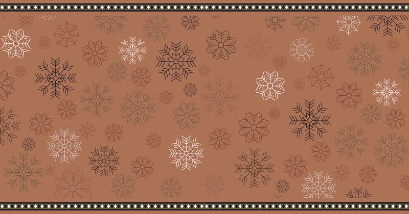 TenStickers. Snowflakes pattern bedroom vinyl rug. Snowflakes pattern vinyl bedroom rug . Amazing rug design for Christmas, it it featured with snowflakes design in patterns on a brown background.