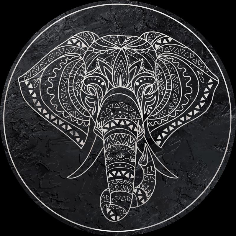 TenVinilo. Alfombra vinilo mandala elefante de mármol. ¡Una alfombra vinílica redonda de elefante increíble que dará un toque elegante y original a tu casa! Elige las medidas ¡Envío express!
