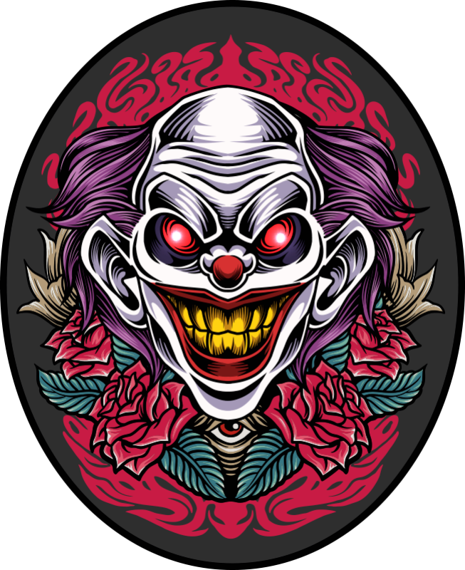 TenStickers. Clown art halloween vinyl tapijt. Ronde tip halloween clown art vinyl tapijt om een ruimte in halloween festival te decoreren. Het is gemakkelijk te onderhouden en op maat gemaakt.