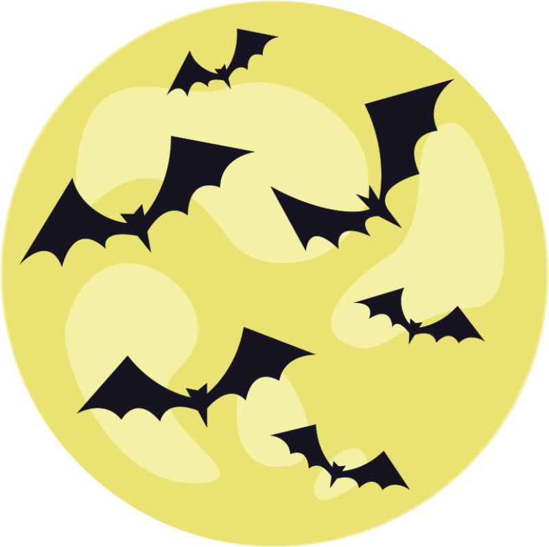 TenStickers. Halloween bat night pattern vinyl carpet. Amazing round Halloween terror vinyl carpet to decorate a space  in Halloween festival. It contains feature of flying black bats on yellow background.