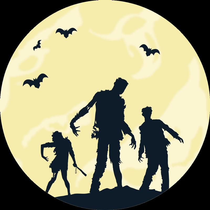 TenVinilo. Alfombra vinilica Halloween zombies de terror. Alfombra vinilo redonda con un diseño de Halloween con zombies para decorar tu casa de forma original y a tu gusto ¡Envío a domicilio!