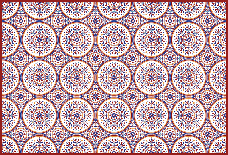 TenStickers. 珐琅瓷砖大厅乙烯基地毯. 令人惊叹的矩形乙烯基地毯,配以珐琅瓷砖图案设计。该产品是原创的,防滑,易于维护,经久耐用。