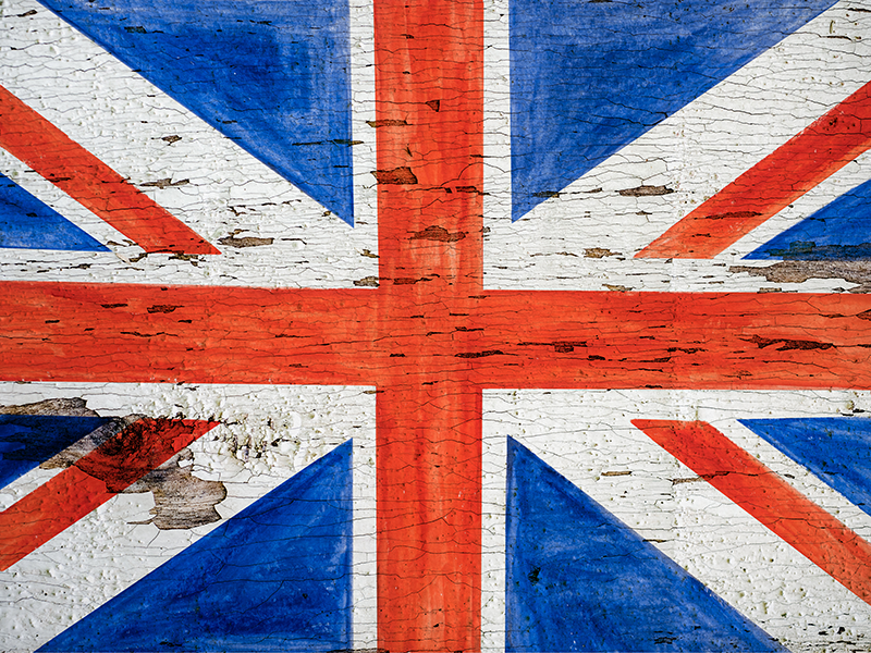 TenStickers. Urban style UK flag modern vinyl carpet. A perfect rectangular vinyl rug with urban style UK flag with stone texture background. It is easy to maintain and made of high quality.