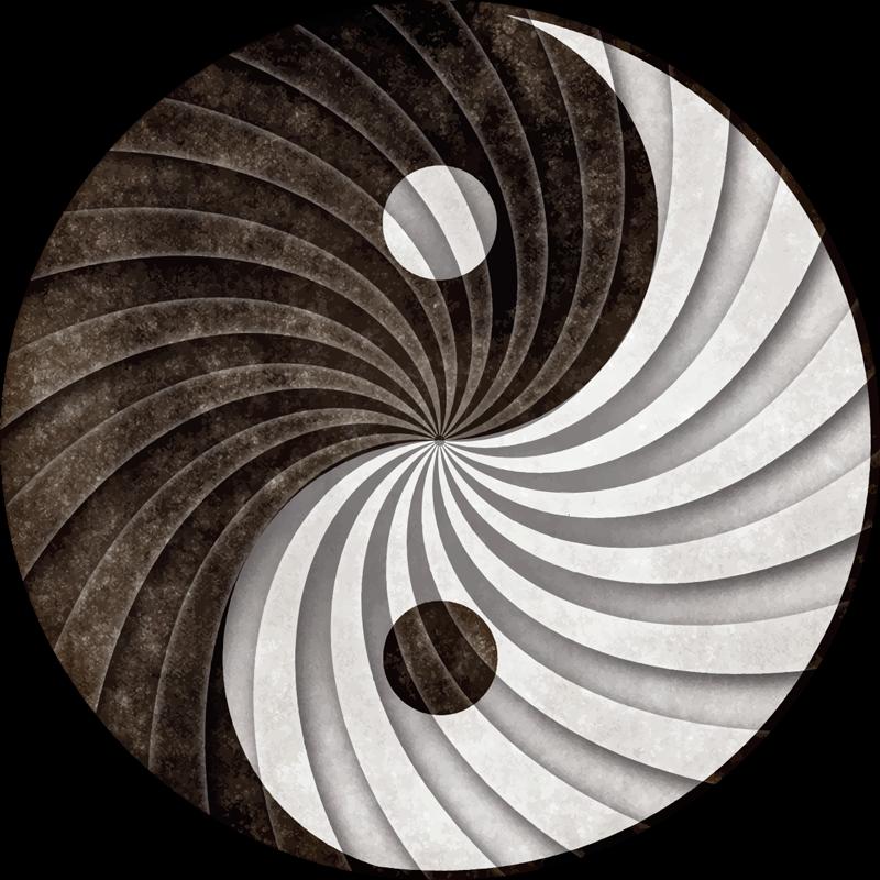 TenStickers. tapis vinyl vintage Assombrir le yin et le yang. Tapis en sticker à motifs asiatiques de couleur grise et cendre. Changez l'aspect de votre espace ! Facile à entretenir et fait de la meilleure qualité.