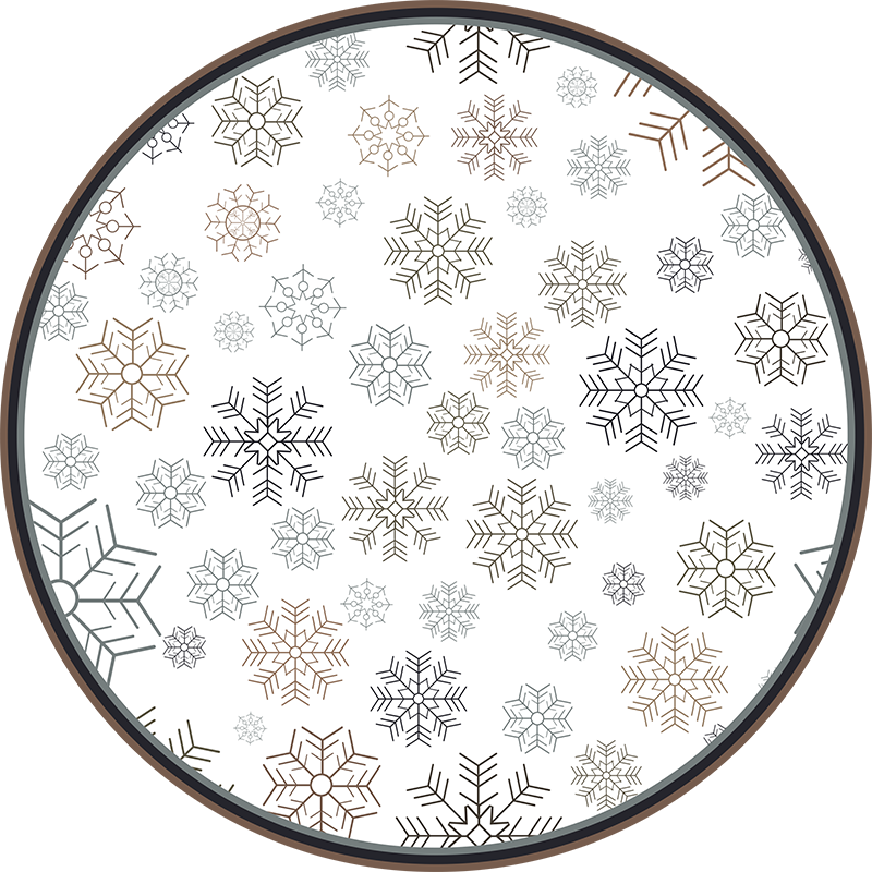 TenStickers. Snowflake circles living room rug. Decorative circular vinyl living room rug featured with different snowflakes designs Our vinyl rug are original and really easy to maintain.