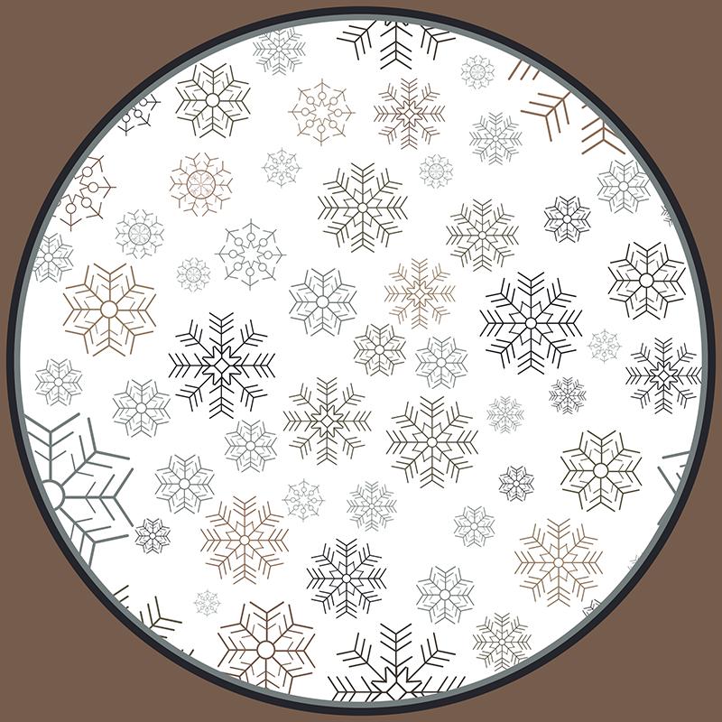 TenVinilo. Alfombra vinilica redonda copos nieve grises. Alfombra vinilo redonda para salón con diferentes diseños de copos de nieve original y fácil de mantener ¡Envío a domicilio!