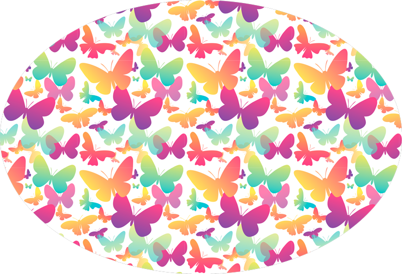 TenStickers. Gradient Butterflies animal mat. Decorative Gradient Butterflies animal rug that can be placed on any floor space you want. Easy to maintain and made of high quality.