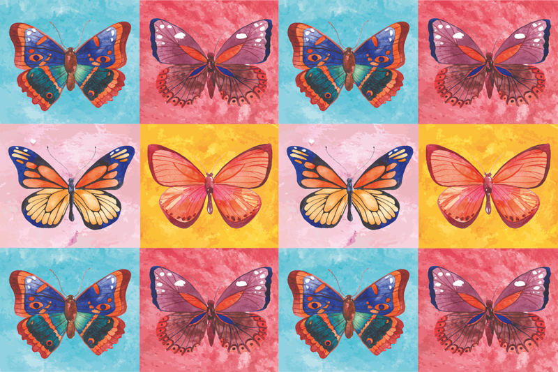 TenStickers. multicolored Butterflies animal mat. Multicolored butterflies animal rug that can be placed on any floor space you want. It is original, durable and easy to maintain.