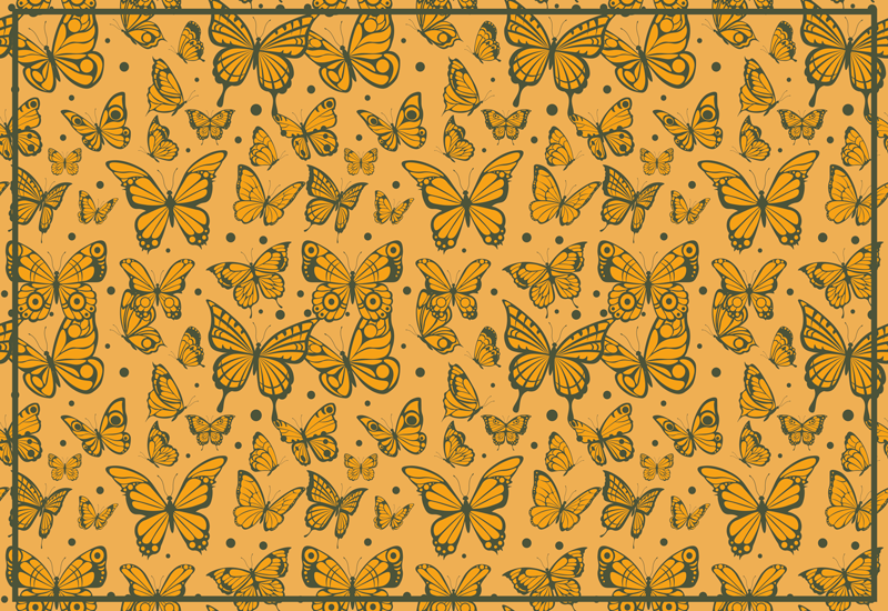 TenStickers. Trendy butterflies pattern animal mat. Yellow background rectangular vinyl rug that is suitable for all space.  It is original, easy to clean and durable. Available in any size you want.
