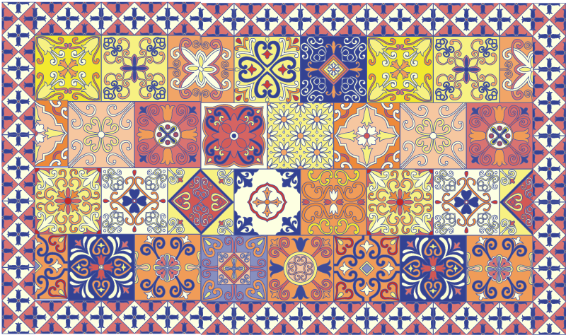 TenStickers. Mexican tile mat. Great vinyl rug design for your living room. The design is a tile pattern depicting  Mexican style. It is also suitable for any other space.