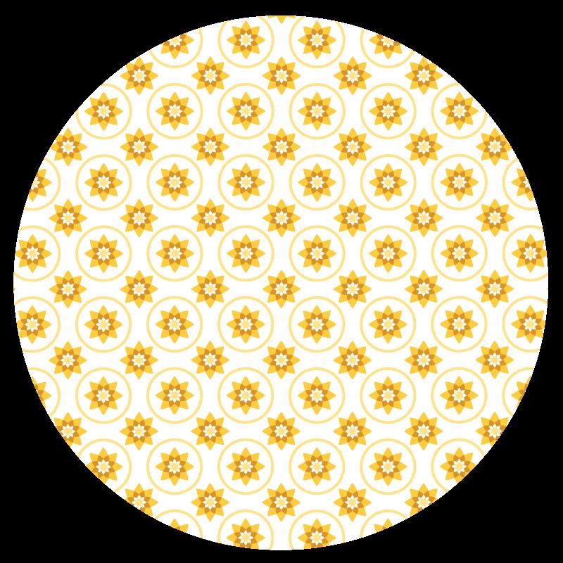 TenStickers. Vinylteppich modern Sonne. Fantastischer schlafzimmer vinyl teppich für schlafzimmer. Das Produkt ist mit leuchtend gelbem sonnendesign hergestellt und wäre eine charmante idee für ein kinderzimmer.