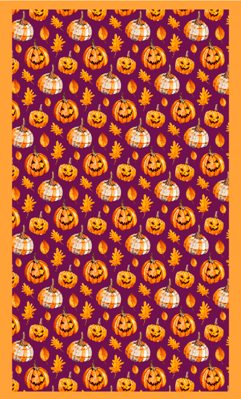 TenStickers. Pumpkins on purple background vinyl rug halloween mats. Carved pumpkins Halloween vinyl rug design to decorate a floor for Halloween festival. It is original and easy to maintain.