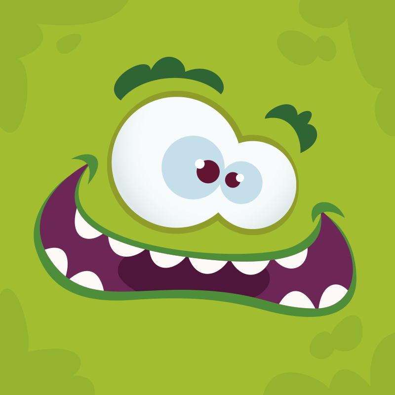 TenStickers. Vinylteppich Kinder Monstergrüner Vinyl Teppich. Lustiger Vinyl Teppich mit einem monster. Perfekte dekoration für kinderzimmer. Einfach zu lagern und zu reinigen, aus hochwertigem vinyl.