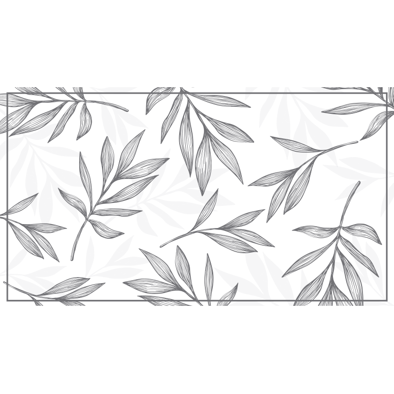TenStickers. Grey leaves on white background vinyl rug contemporary rugs. Original vinyl rug with grey leaves. It will leave your bedroom looking stunning. Easy application, high quality materials.