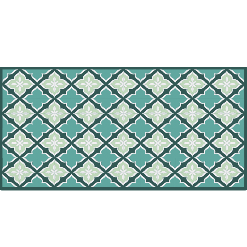 TenStickers. Retro tiles pattern vinyl rug contemporary rugs. Blue vinyl rug with tiles for decorating your kitchen. It will serve perfectly as a beautiful blue accent for your kitchen. Easy to clean and store.