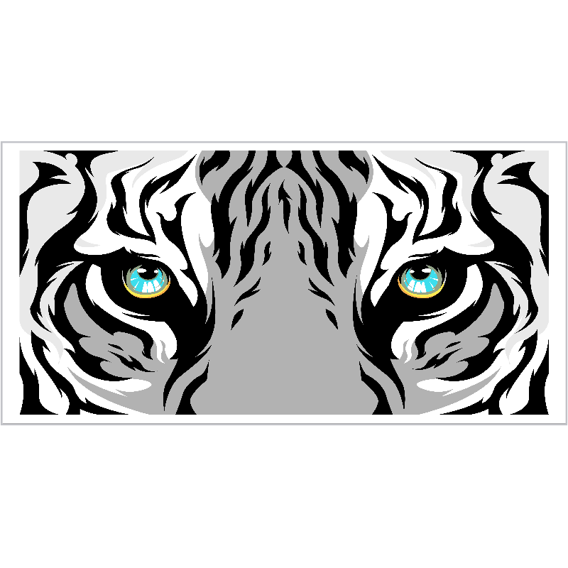 TenStickers. Blue eyed tiger animal mat. This stunning tiger rug design features a white tiger's face up close with glaring blue eyes. Discounts available. High quality.