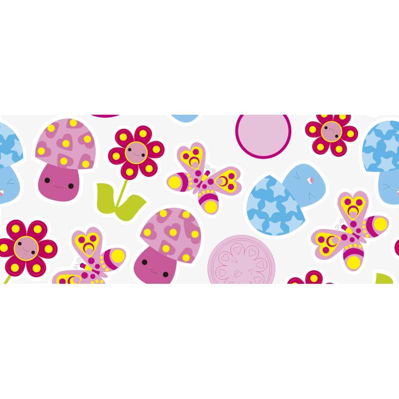 TenStickers. Cartoon flowers kids vinyl carpet. This stunning flower rug design features a variety of flowers, mushrooms and dots with adorable smiley faces! High quality materials.
