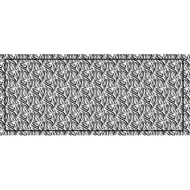 TENSTICKERS. ゼブラ柄ビニールカーペット. このビニールラグのデザインは、ゼブラ柄がプリントされています。ラグは黒いボーダーが特徴です。気泡防止ビニール。