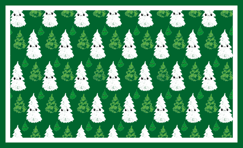 TenStickers. Adorable Christmas tree Christmas rug. Christmas tree rug which features a pattern of adorable Christmas trees pulling very cute faces! The rug is coloured in green and white.