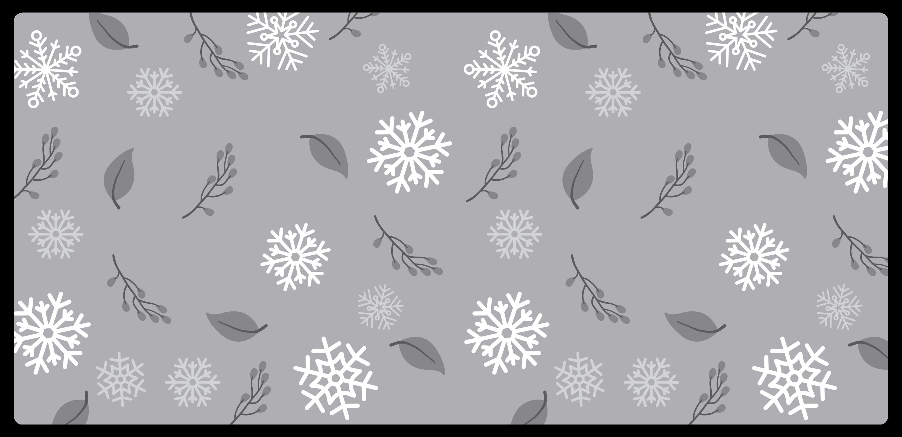 TenStickers. Passatoia in vinile cucina Sfondo grigio con fiocchi di neve. Invita il natale con questo tappeto natalizio bello e facile da mantenere! Abbiamo oltre 10. 000 clienti soddisfatti che garantiscono per noi.